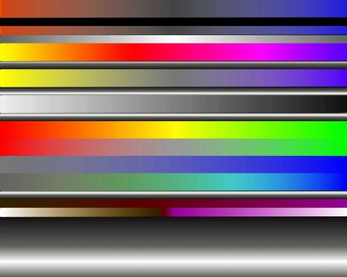 A range of colour progressions, vertical and horizontal (ordered sequences in hue, saturation and tone)