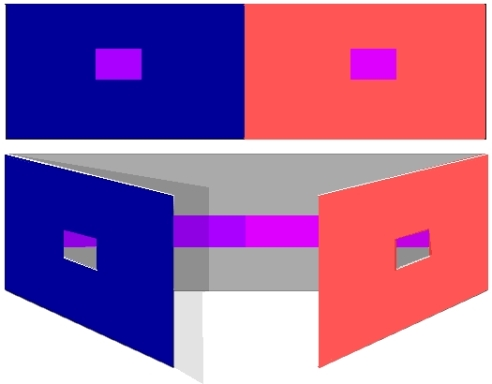 At the top is how this exercise might appear with the outer flaps shut. Below one can see how it could be constructed so that you can easily test the colours for similarity.